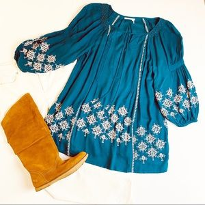 Anthropologie Floreat Embroidered Tunic NWOT S